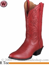 DISCONTINUED Ariat Women's Western Heritage R Toe Boots Red Deertan 1035