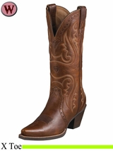 Ariat Women's Western Heritage X Toe Boots Vintage Carmel 5908