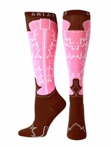 Ariat Women's Western Pink Knee Socks A10011071