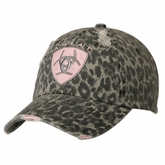 Ariat Womens Grey Cheetah with Pink Logo Ball Cap 1509006