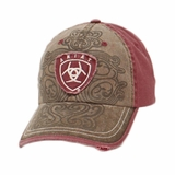 Ariat Womens Purple with Brown Scroll Ball Cap 1514602