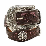 Ariat Youth Pink/Brown Flower Overlay Belt A1301802