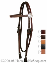 Basketweave & Acorn Tooled Browband Sagebrush Headstall by Circle Y y0125-71