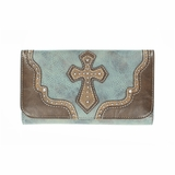 Blazin Roxx Brown and Blue Cross Wallet N7516327