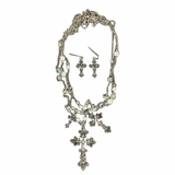 Blazin Roxx Triple Strand Cross Necklace and Earrings Set 29383