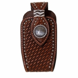 Brown Basket Weave with Silver Concho and Studs Phone Case N7465408