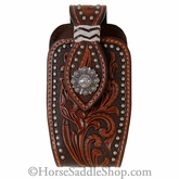 Brown Leather Floral Tooled with Silver Concho Phone Case N7464608