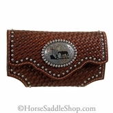 Brown Leather Tooled Basket Weave Praying Cowboy Phone Case n7462608