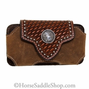 Brown Leather with Basket Weave Flap and Concho Phone Case N7463244