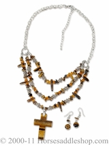 DISCONTINUED Brown Stone Cross Jewelry Set 29822
