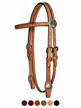 "Circle Y 5/8"" Border Tooled with Tulip Conchos Browband Headstall 0252-73"