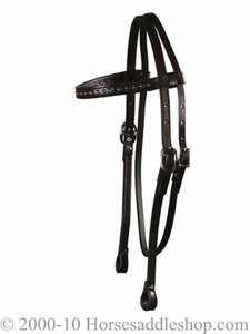 Circle Y Browband Headstall Wave Tool Silver Spots 0125-32