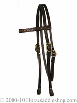 Circle Y Browband Headstall Wave Tooled Brass Spots 0125-333