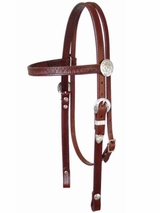 Circle Y Shell Tooled and Silver Headstall hs-y010020