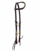 "Circle Y One Ear Headstall Rawhide Braiding with Stainless Steel 5/8"" X0222-4001"