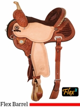 "13"" to 17"" Circle Y Kelly Kaminski Studded Croc Flex2 Barrel Racer 1539 w/Free Pad"