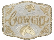 Cowgirl Gold Lettering Belt Buckle C11237 by Crumrine