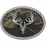Deer Skull Belt Buckle with Mossy Oak Background 37076