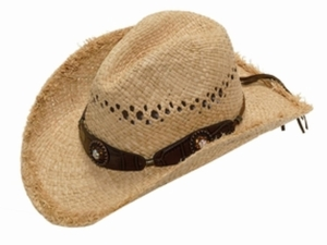 Double S Ladies Raffia Hat - Scalloped with cyrstals 71076