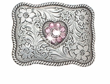 Girls Heart Rhinestone Belt Buckle by Nocona 37588