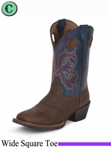 Justin Boots Kid's Dark Brown Cowhide Stampede Boots 2520JR