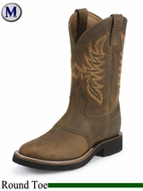 DISCONTINUED OUT OF STOCK Justin Boots Men's Tekno Crepe Dark Brown Rawhide Boots 5074