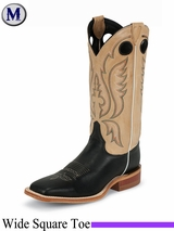 Justin Boots Men's Western Black Burnished Calf Boots BR303