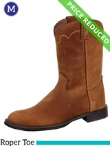 Justin Boots Mens Tan Apache Stampede Roper Boots 3902 CLEARANCE