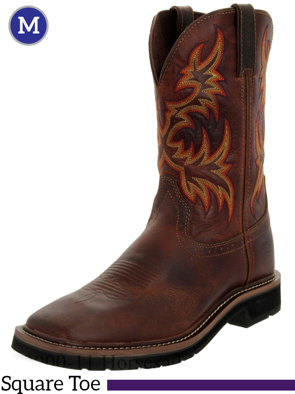 Justin Rugged Tan Cowhide Stampede Collection Cowboy Boots
