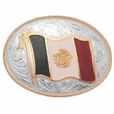 Justin Silver Mexican Flag Belt Buckle 80590