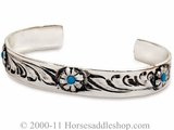 Justin Turquoise and Floral Silver Bracelet 90472
