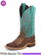 Justin Women's Dark Brown Bent Rail Boots with Light Blue Top BRL355