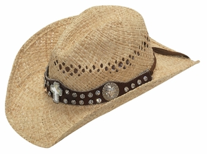 Ladies Raffia Sun Hat - with Cross Band 71070