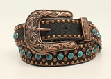 M&F Black Belt with Turquoise and Copper Accents 34987