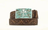M&F Brown Belt with Turquoise Stain Buckle 3423002