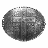 Western Products Oval Buckle with Cross and Edge Dots 38032