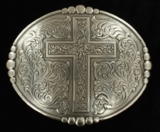 M&F Oval Buckle with Cross and Edge Dots 38032