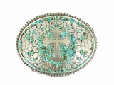 M&F Oval Silver Buckle with Turquoise Accents 37914