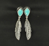 M&F Turquoise Drop Feather Earrings 30612