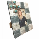 M&F Western Slate 4 x 6 Picture Frame with Turquoise Cross 94107