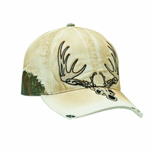 Mens Tan and Mossy Oak Camo Deer Skull Ball Cap 1540808