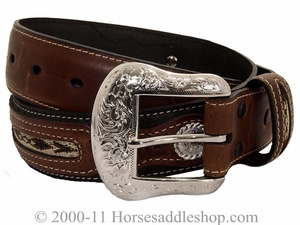Mens Western Belt with Conchos and Fabric Inset by Nocona Belt Co. 2475701