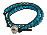 Montana Silversmiths Brown Leather Wrap Bracelet with Turquoise Beads BC1364