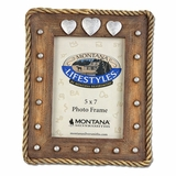 Discontinued 2015/01/29 Montana Silversmiths Concho Hearts 5x7 Photo Frame PH221