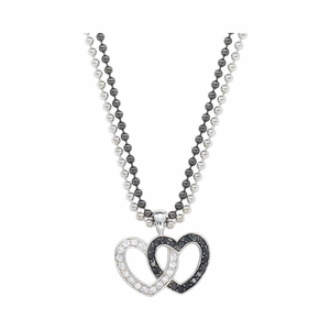 Montana Silversmiths Crystal & Black Double Heart Pendant Necklace NC61505BK