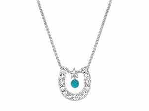 Montana Silversmiths Crystal Horseshoe with Turquoise Necklace NC61523TQ