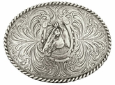 Montana Silversmiths Horse Head Horseshoe Classic Antiqued Attitude Belt Buckle 61038