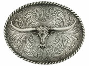 Montana Silversmiths Longhorn Classic Antiqued Attitude Belt Buckle 61028