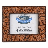 DISCONTINUED Montana Silversmiths Tooled Leather & Twisted Rope 5x7 Photo Frame PH291
