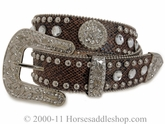 Nocona Blazin ROXX Brown Snake Skin Bling Belt n3513202
